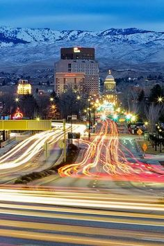 Beautiful Boise Idaho, lights, winter, capitol building, US Bank, Grove Hotel. Promote progress in Boise at boisethinks.org