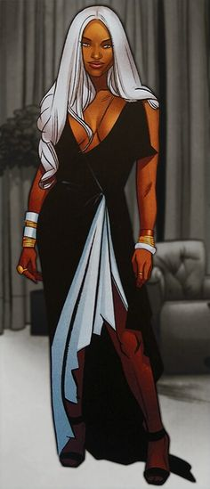 Ororo in an evening dress