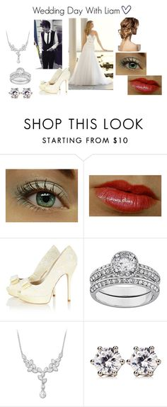 """""""Wedding Day With Liam ♥"""" by brit-sapphire ❤ liked on Polyvore featuring Payne, Karen Millen, Swarovski, Juicy Couture, platform heels, choker necklaces, chain necklaces, long pendant necklaces, crochet dresses and studs"""