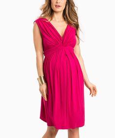 Raspberry Knot-Waist Amanda Sleeveless Maternity Dress