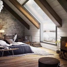 Attic Bedroom by Mukesh Raj - Architecture and Home Decor - Bedroom - Bathroom - Kitchen And Living Room Interior Design Decorating Ideas - Attic Bedroom Decor, Attic Bedroom Designs, Attic Bedrooms, Attic Design, Attic Bathroom, Interior Design, Room Interior, Bedroom Ideas, Bathroom Green