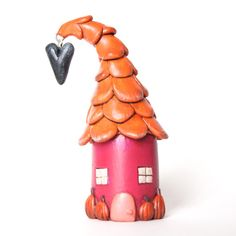 Curly Roof Petite House in Orange and by jessicajaneHANDMADE