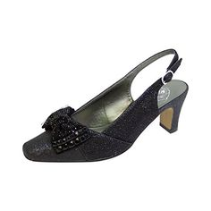 FIC FLORAL Megan Women Extra Wide Width Glitter Bow Slingback BLACK 10.5 ** Find out more details @