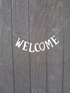 Welcome Banner Garland Handmade Decoration Holidays Silver German Glass Glitter on Etsy, $52.50
