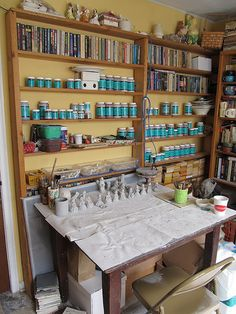 Shallow shelves, so you can see all your paint and glaze containers. Would be good for still life pieces, too.