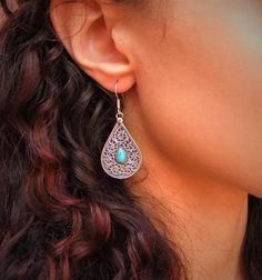 Silver and turquoise earrings. Pendientes por CaliuEthnicJewellery