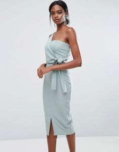 Lavish Alice One Shoulder Pencil Dress With Tie Detail - Green