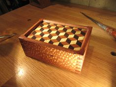 "Lacewood Parquetry Box ""Louis Cubes"" Handmade Exotic Wood Box, Valet Box, Trinket Box, Inlaid Top by WearyWoodshop on Etsy https://www.etsy.com/listing/111091208/lacewood-parquetry-box-louis-cubes"
