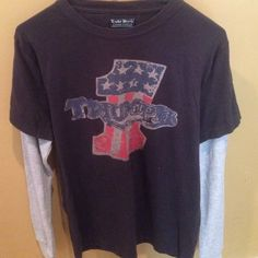 Lucky Brand Vintage Inspired L/S T-shirt. S NWT Lucky Brand Vintage Inspired Triumph logo T-shirt.  100% cotton.  The T-shirt must be a mans because it is very big.  I bought it at the Lucky store about 4 years ago.  Small NWT Lucky Brand Tops Tees - Short Sleeve