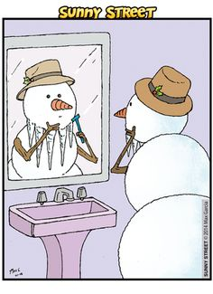 Today on Sunny Street - Comics by Max Garcia and Sandra Barthauer Christmas Jokes, Christmas Cartoons, Christmas Fun, Xmas, Snowman Jokes, Snowman Cartoon, Snowman Crafts, Funny Cartoons, Funny Comics