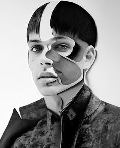 excelent montage, great portrait shot with added faces inside, looks sleek elegant and fancy while still having an abstract character to it. Looks like a fashion advertisement almost