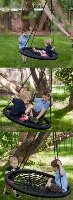 TheSwing-N-Slide Monster Web Swing can hold up to three children at once! The extra-large oval frame is made of sturdy steel wrapped in padding. Durable rope creates a spider-web like netting with comfortable support. This incredible swing is now on sale at http://hayneedle.com.