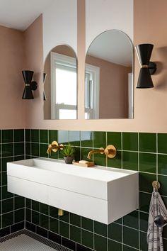 Best Indoor Garden Ideas for 2020 - Modern Stone Bathroom, Bathroom Renos, Modern Bathroom, Small Bathroom, Bathroom Styling, Bathroom Interior Design, Black Wall Lights, Public Bathrooms, Family Bathroom