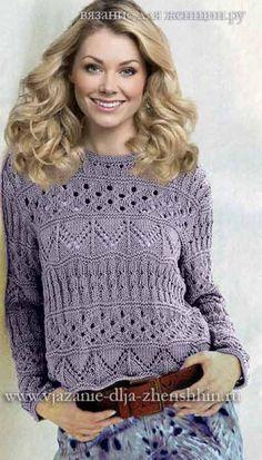 a summer sweater with openwork stitches La Grenouille Tricote Summer Knitting, Lace Knitting, Knitting Stitches, Knitting Designs, Knitting Patterns, Sweater Patterns, Knitting Ideas, Knitting Needles, Stitch Patterns
