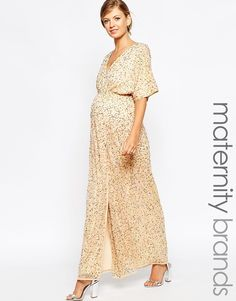 ASOS+Maternity+Kimono+Maxi+Dress+In+Sequin