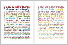 Empowering Statements for Children of all Ages .... I love these messages for my children.  These are going in our QUIET ROOM which is where my 8 year old son hangs out to do legos, homework, and read.