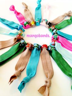 fold over elastic mangobands w floral beads- hair ties, hair bands- won't tug, tear, rip, or kink your hair- foe-READY TO SHIP on Etsy, $3.00