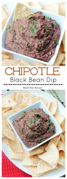 This Chipotle Black Bean Dip is creamy, and smoky, and spicy, everything you could ever want from a bean dip minus that yucky fat that none of us need. Pair it up with baked tortilla chips for a low cal/low fat snack the whole family will love. #SundaySupper