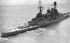Fine study of 15 in battlecruiser HMS Repulse between the wars - this class, under construction at the time of Jutland, preceded HMS Hood and shipped one less turret aft. Unlike her sister Renown, Repulse was not significantly modernised and looked very similar to this when sunk by Japanese aircraft in December 1941.