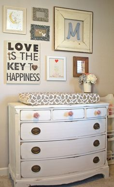I like the dresser/changing table! For future baby room Girl Nursery, Girl Room, Nursery Decor, Nursery Ideas, Project Nursery, Bedroom Decor, Bedroom Rustic, Baby Bedroom, Bedroom Wall