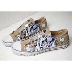 Personalized Khaki Canvas Skull Emo Punk Rock Sneakers Shoe Men Casual SKU-1280390