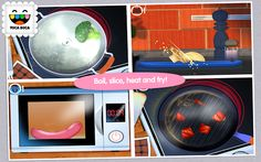 Toca Kitchen (I guess all the Toca Boca games are supposed to be pretty good. Cooking Games For Kids, Cooking App, Free Android, Android Apps, Educational Apps For Kids, App Of The Day, Preschool Games, Arcade Games, App Design