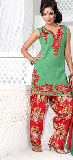 53.07 Gold Sleeveless Cotton Short Punjabi Salwar Kameez 18720 ...