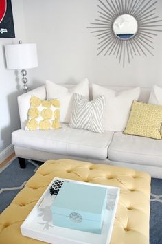 Button Tufting on ottoman…for a Steal   fresh and young room