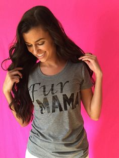 """No one can resist that Puppy Love! Snag your """"Fur Mama"""" tee today for yourself or a friend who has a sweet pup! Grey Tirblend. Sideseamed. Semirelaxed fit. Super soft tee, featuring a uniquely soft tr"""