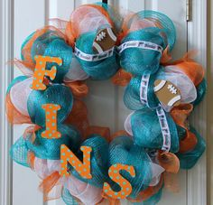 Miami Dolphins NFL football custom deco mesh by SouthernMomDesigns, $50.00