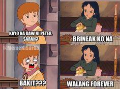 Walang forever. magbalat nalang ng patatas. Tagalog Quotes Hugot Funny, Pinoy Quotes, Tagalog Love Quotes, Filipino Humor, I Laughed, Philippines, Haha, Toms, Funny Pictures