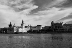 Prague, charles bridge, sky, river, black and white