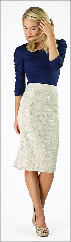 Lace Panel Skirt [MSF3077] - $39.99 : Mikarose Boutique, Reinventing Modesty
