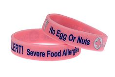 Food Allergy Bracelets for Children. My son wears two of them and receives lots of comments about them. They last for around a year before fading if worn every day. products-i-love Egg Allergy, Peanut Allergy, Allergy Free, Garlic Allergy, Seasonal Allergies, Nut Allergies, Peanut Free Foods, Pink Foods, Peanut Tree