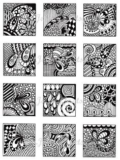 Digital Collage Sheet Black and White Images Abstract by JoArtyJo Zentangle Drawings, Doodles Zentangles, Abstract Drawings, Doodle Drawings, Doodle Art, Doodle Designs, Doodle Patterns, Zentangle Patterns, Estilo Dandy