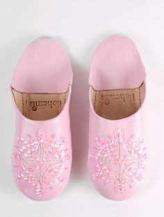 Pale PinkMoroccan Leather Babouche Slippers