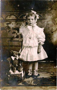 Charming Little Girl with Teddy Bear in Pram Original Vintage Photo Postcard | eBay