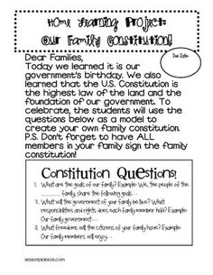 Constitution Day is Sept. -- freebie Family HW to make their own constitution. we can make our own classroom constitution and have all students sign to hang on the wall all year. 3rd Grade Social Studies, Social Studies Classroom, Social Studies Resources, Teaching Social Studies, Teaching Resources, Teaching Ideas, Constitution Day, Classroom Constitution, Classroom Activities