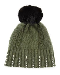 Winter Hat with Crystals & Fur Pompom, Loden Green by Portolano $85.00