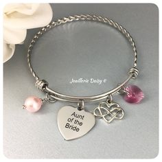 Aunt of the Bride Gift Bangle Bracelet Wedding Jewelry Aunt Gift Idea Aunt Charm Bracelet Jewelry on Sale by dcjoaillerie on Etsy https://www.etsy.com/ca/listing/555587138/aunt-of-the-bride-gift-bangle-bracelet
