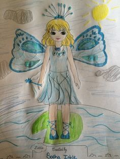 """Lottie Outfit Design! Sasha (age 10) """"I had the idea for this doll/outfit from a painting I did. """"Soar high and you will feel what its like to be brave"""" is also what I thought. I hope you like this!"""" -- USA"""