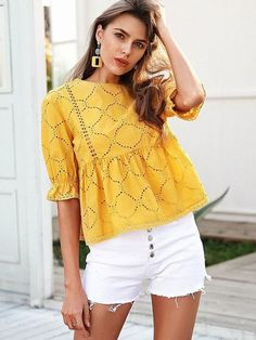 Simplee Cotton embroidery summer blouse women O neck hollow out sexy blusas peplum Ruffle half sleeve casual tops 2018 Moda Chic, Summer Blouses, Effortless Chic, Lace Tops, Half Sleeves, Casual Tops, Blouses For Women, Fashion Outfits, Trendy Fashion