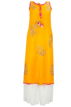 Yellow sequins embellished anarkali set with white sharara pants available only at Pernia's Pop-Up Shop.