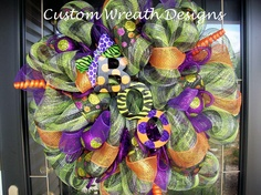 Halloween Mesh BOO Wreath by lilmaddydesigns on Etsy, $95.00