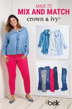 Update your casual wardrobe with fresh, colorful fashion made to mix and match from Crown & Ivy™. Offering the latest styles in your perfect fit, you'll love this assortment of curvy fashion. From colored denim and cute tees for the weekend to ponte pants and button-down blouses for the work week, there are so many options to choose from. Shop Crown & Ivy™ curvy in store and online at Belk.com.