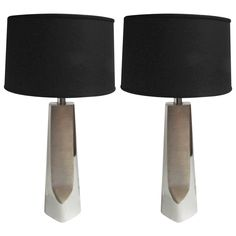 Pair of Sculptural Nickel Lamps by Laurel | From a unique collection of antique…