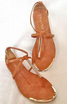 Goddess Gold Tipped Gladiators Cognac Tan Gold Metallic T Strap Sandals 2013 | eBay