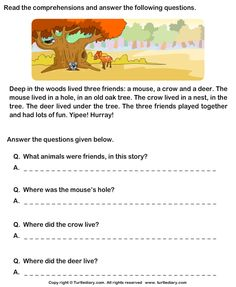 Reading Comprehension Mouse Crow and Deer Worksheet First Grade Reading Comprehension, Picture Comprehension, Reading Comprehension Worksheets, Reading Passages, Comprehension Strategies, Reading Response, 1st Grade Reading Worksheets, English Worksheets For Kids, English Lessons For Kids