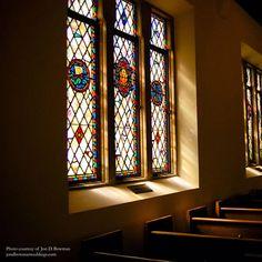 Stained glass windows at the Memorial Chapel, Lake Junaluska, NC. Visit http://www.lakejunaluska.com/weddings for more information.