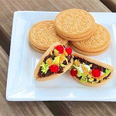Taco + Oreo = Tacoreo. There's no baking necessary for these tiny taco bites. Just assemble and enjoy!